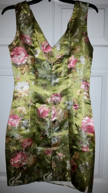 Other short dress Green Asian Print Satin Sheath on Tradesy
