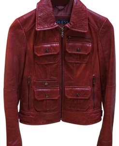 Guess red Leather Jacket