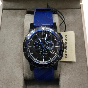 Burberry The City Sport Chronograph Black Check Stamped Dial Navy Rubber Men's Watch