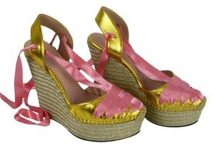 Gucci Heels Metallic 408223 Gold and Pink Wedges
