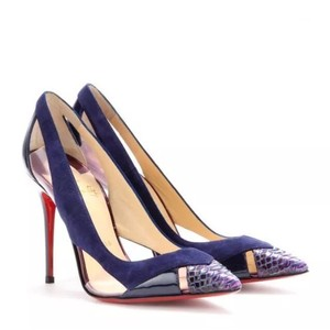 Christian Louboutin purple python tip on blue suede and leather body Pumps