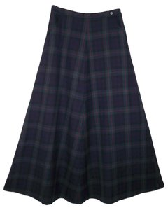 Ralph Lauren Wool Plaid A-line Maxi Skirt