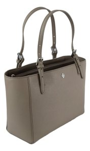 Tory Burch Black York Small Buckle York Tote in French Gray