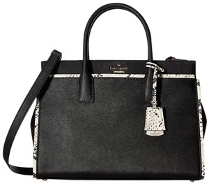 Kate Spade Cameron Street Candace Crosshatched Leather Snake Embossed Satchel in Black