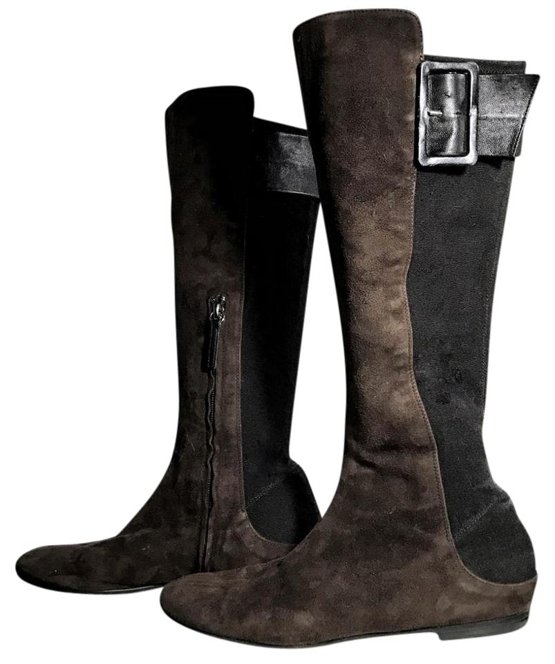 Giuseppe Zanotti Brown Black Leather Multi Media Color Suede Leather Black Boots/Booties c67c04