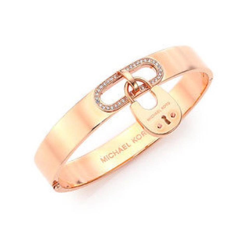 Michael Kors Women S Stainless Steel Rose Gold Tone Padlock Bangle Mkj4612791 Bracelet 48 Off Retail
