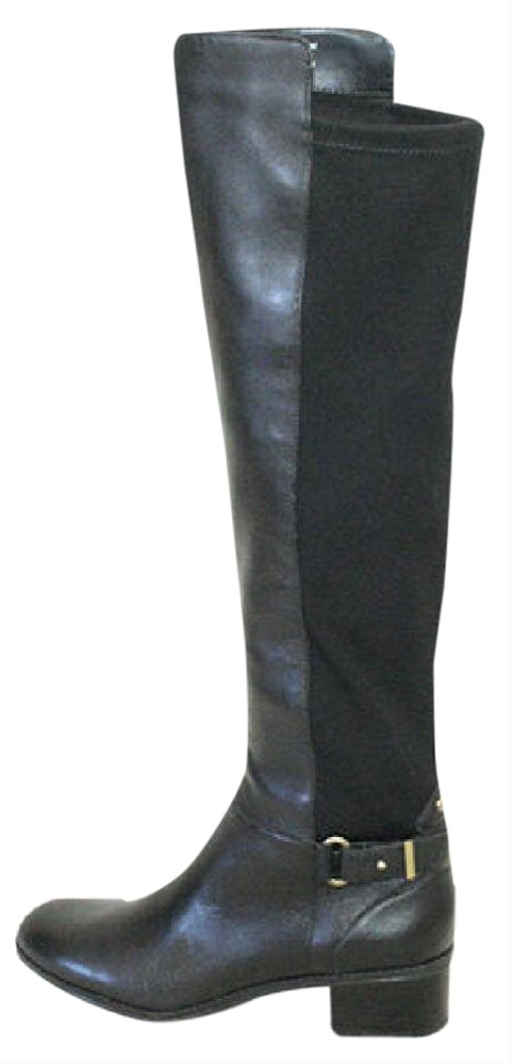 6d7fbe3f214 Bandolino Black Designer Flat Over The Knee High Leather Boots Booties
