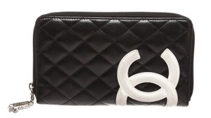 Chanel Chanel Black Leather White CC Cambon Jumbo Quilted Zip Wallet