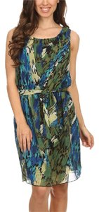 Pretty Young Thing short dress Green Chiffon V-neck A-line Halter Top Blue And on Tradesy