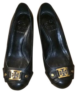 Tory Burch Black with Gold Tory Burch Emblem Wedges