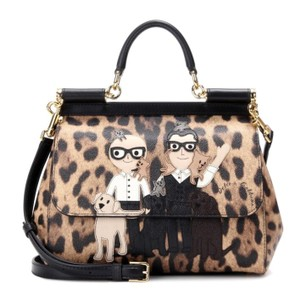 Dolce&Gabbana Designer Leather Satchel in Leopard