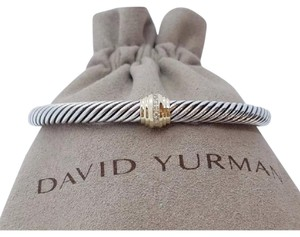 David Yurman David Yurman Gold Diamond Single Station 5mm Cuff Bracelet