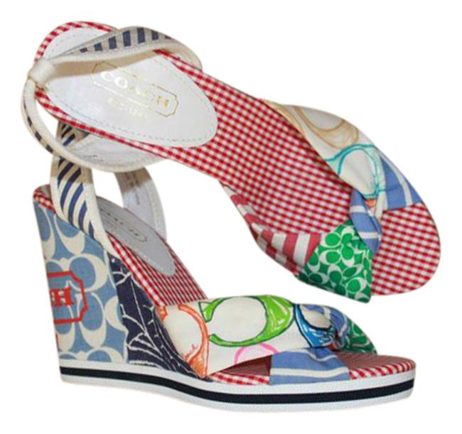 Item - Multi Logo C Fabric Sandals Bright Colors Red Checker Print Vtg Wedges Size US 7 Regular (M, B)
