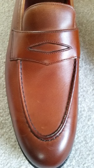 Poulsen Skone & Co. Men's Luxury Brand Leather Dunhill Chestnut Flats