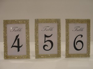 6 Gold Tone Bling Rhinestone Diamond Mesh Table Number Frame / Photo 4