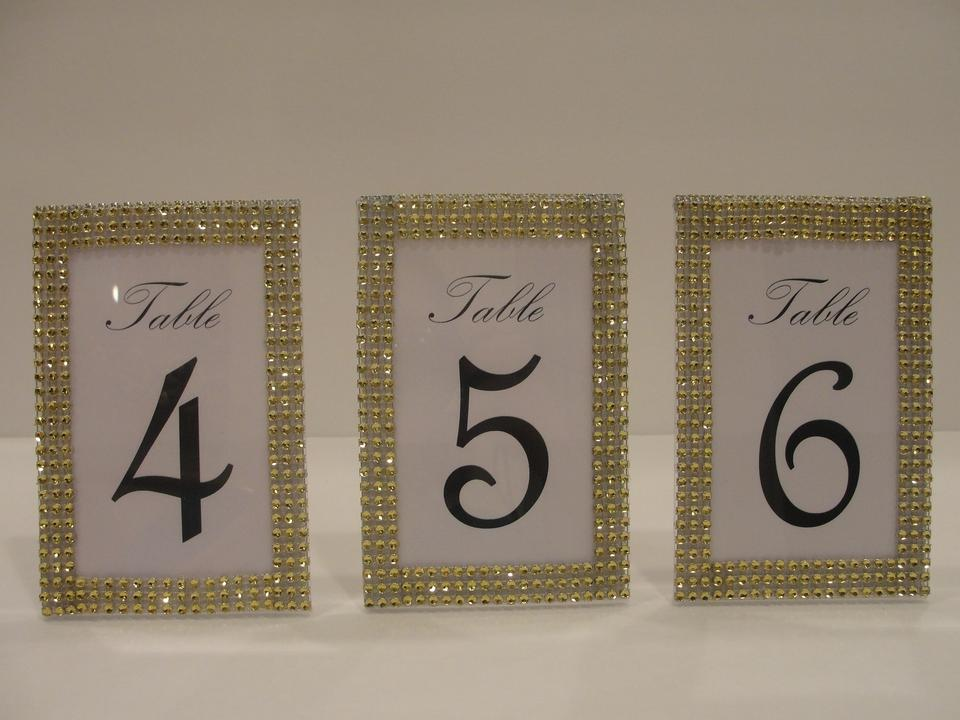 Gold Rhinestone Style Table Number Frames Reception Decoration Tradesy