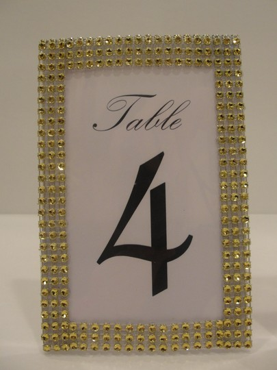 Gold Rhinestone Style Table Number Frames Reception Decoration