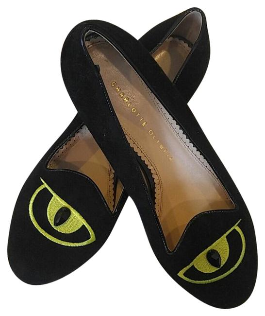 Item - Black and Lime Green Suede Ballet Flats Size US 9 Regular (M, B)