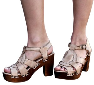 Bed|Stü New Woven Leather Rustic Bohemian Festival Wedges Cream Brown Chic Beige Sandals