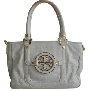 Tory Burch Pebbled Leather Convertible Summer Spring Satchel in White