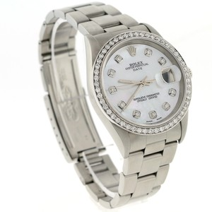 Rolex Rolex Date 34mm Steel Oyster Watch with Silver Diamond Dial Bezel