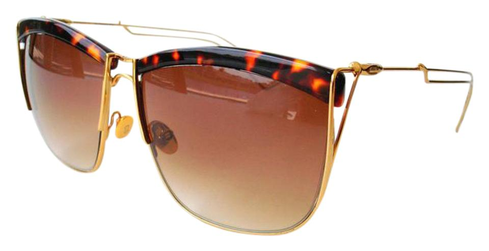 9a560141aa Dior Gold Brown New Electric Sunglasses - Tradesy
