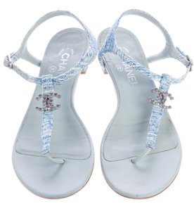 Chanel Interlocking Cc Embellished Ankle Strap Silver Hardware Tweed Blue, Silver Sandals
