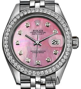 Rolex Natural Pastel Pink Pearl Ladies Rolex 26MM Natural Diamond Numbers SS