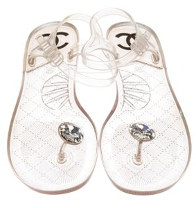 Chanel Interlocking Cc Ankle Strap Silver Hardware Camellia Crystal White, Clear Sandals