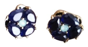 Other Deep Blue Crystal and Golden Floral Stud Earrings