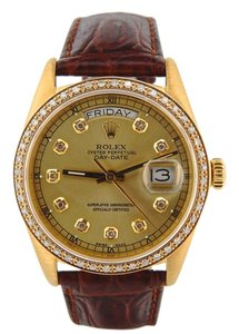 Rolex Mens Rolex 18K Gold Day-Date President Champagne Diamond 18038
