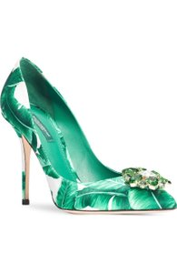 Dolce&Gabbana New Banana Leaf Green Embellished Pump 40 Wedding Shoes