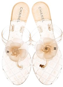 Chanel Interlocking Cc Silver Hardware Camellia Glitter Jelly Brown, Beige Sandals