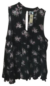 American Eagle Outfitters Floral High-neck Open Front Top Black