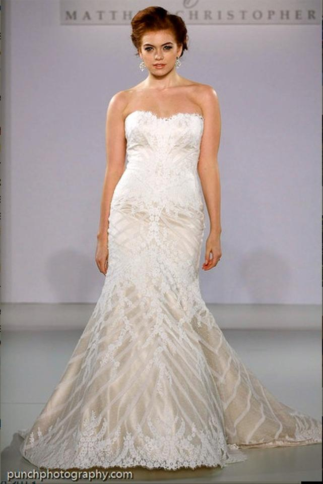 Matthew christopher ivory champagne beaded silk chiffon for Matthew christopher wedding dress prices