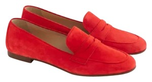 J.Crew Penny Loafers Suede Vibrant flame Flats