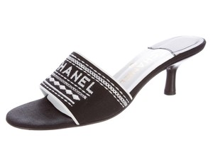 Chanel Interlocking Cc Silver Hardware Peep Toe Monogram Embroidered Black, White Sandals