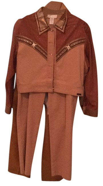 Item - Gold with Brown Shoulder Pant Suit Size 6 (S)