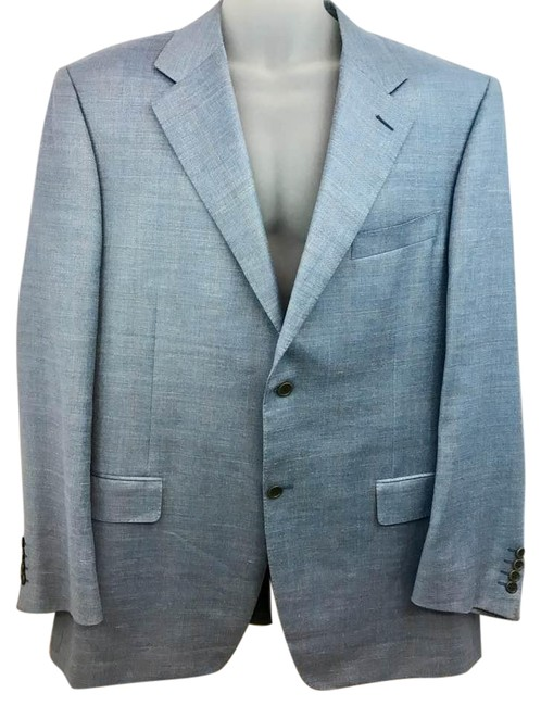 Item - Made In Italy Light Blue Men's Jacket 56 R Blazer Size OS (one size)