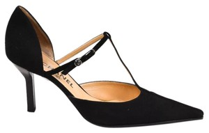 Chanel Luxury Leather Black Suede Pumps