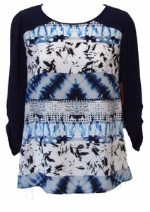 BCBGMAXAZRIA Keyhole Cut-out Hi Lo Flowy Top Blue Tide Combo