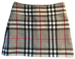 Burberry Mini Skirt Black, Tan, Red, White