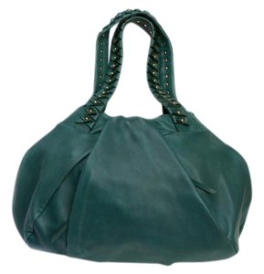 Diane von Furstenberg Leather Dvf Studded Green Tote in Dark green