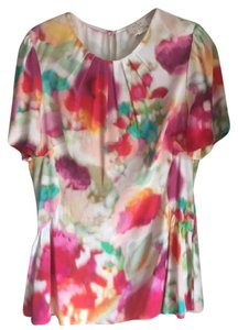 Kate Spade Colorful Viscose Fitted Dressy Top Watercolor mix