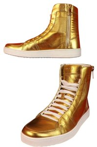 Gucci Mens Gold Metallic Leather High Hi Top Double Zip Limited Sneakers 8 9