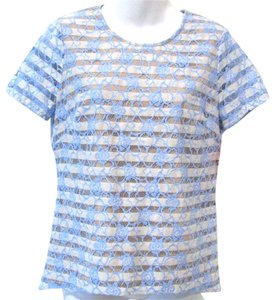 BCBGMAXAZRIA Lace Striped Bright Summer Top Dark Crystal Blue Chalk