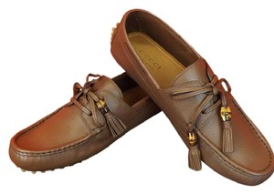 Gucci Brown/New Oak Mens Leather Damo Bamboo Tassel Driver Loafers 8.5 9.5 Shoes