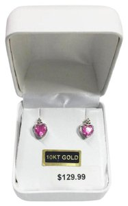Other Sale!!! New Solid 10K White Gold Lab Pink Sapphire Heart 10KT Earrings
