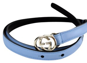 Gucci New Gucci Women's 370552 Blue Leather Interlocking GG Belt 38 95