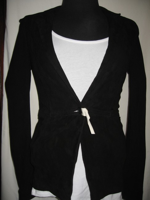 Elizabeth and James Suede Tailored Zipper Black Blazer